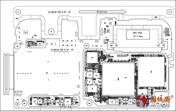华为荣耀V10 HL1BKLM VER.B手机主板元件位号图
