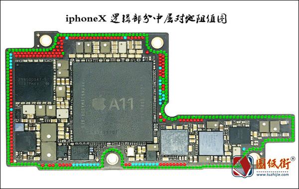 iphoneX 逻辑部分中层对地阻值图