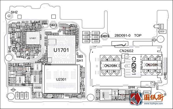OPPO R15标准版2BD091-0手机主板元件位号图