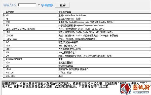 硬件维修英文查询器V1.0