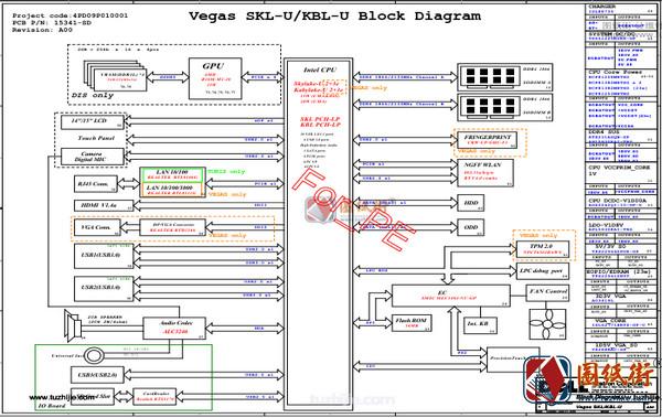 Dell Inspiron 15 Vegas SKL/KBL-U 15341-1 REV : A00 戴尔笔记本图纸