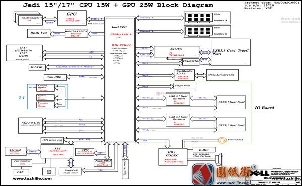 Dell Inspiron 7590 2 in 1 Jedi15 WHL 18718-1 REV : A00戴尔笔记本电路图