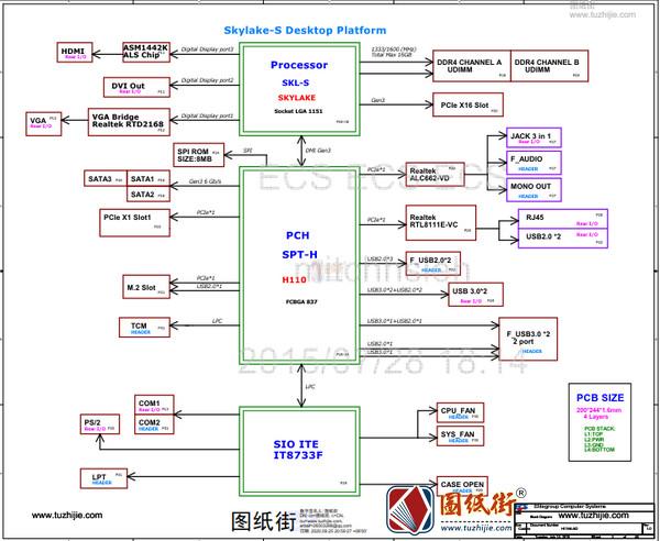 ECS H11H4-AD (Acer Aspire T3-710) SKYLAKE-S V1.0 REV 1.0电路图