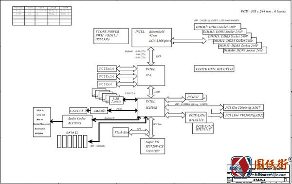 ECS X58B-A REV B精英主板电路原理图纸