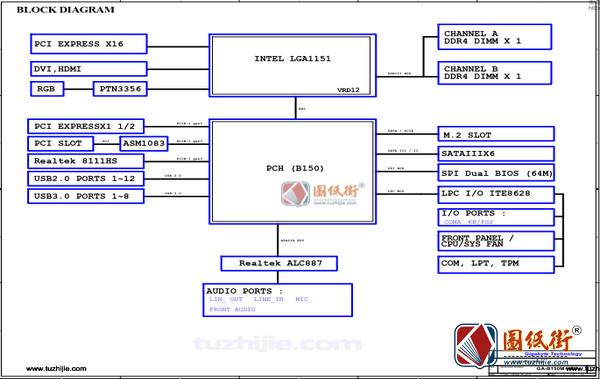 GA-B150M-HD3 REV1.0技嘉主板电路原理图纸