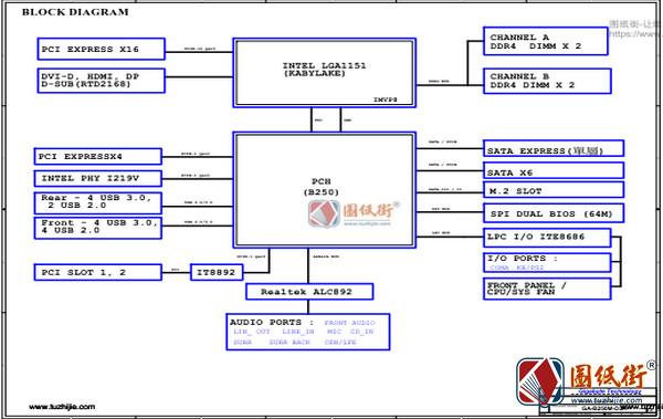 GA-B250M-D3H Rev 1.0技嘉主板电路图