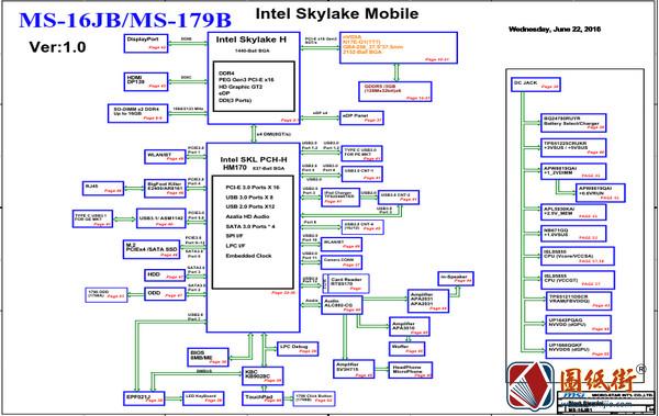 MSI GP62MVR MS-16JB1 Ver 1.0(0A)微星笔记本图纸