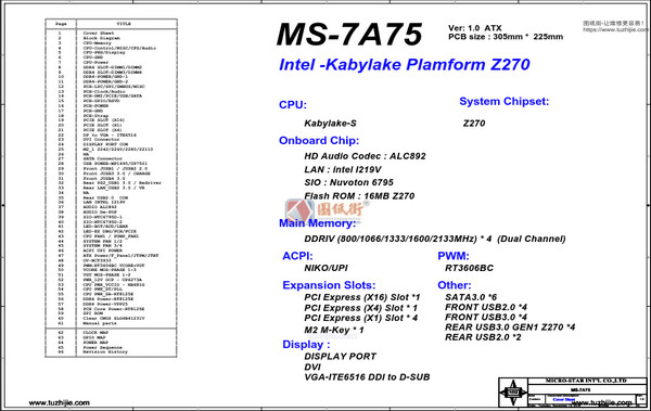 MSI Z270A PRO MS-7A75 Rev1.0微星主板图纸