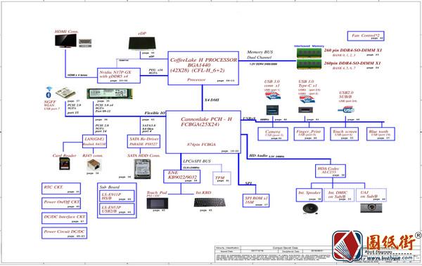 Acer Nitro AN515-52 M_B LA-F951P Rev 1A宏基笔记本电路图